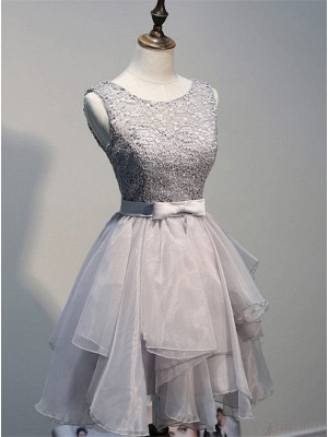 Sexy Lace Mini Bow Homecoming Dress UK Sleeveless Lace-up_1