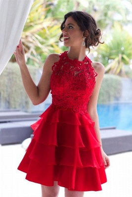 Elegant Red Lace Sleeveless Homecoming Dress UK Short Layers Cocktail Gowns_1