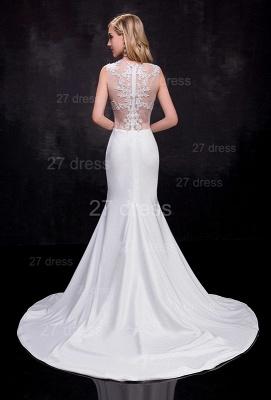 Lace Appliques Sexy Mermaid Wedding Dress Sweep Train_3