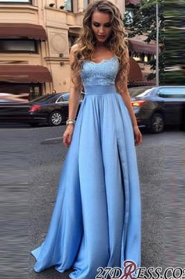 Lace Sleeveless Gorgeous Strapless A-Line Prom Dress UKes UK_1