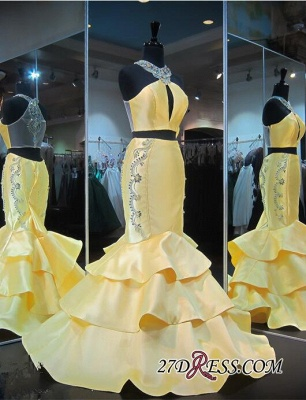 Ruffles Mermaid Zipper Luxury Crystals Sleeveless Halter Yellow Evening Gown_3