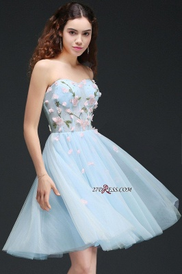 Embroidery Flowers Luxury Sweetheart Lace-Up Tulle Short Homecoming Dress UK_4