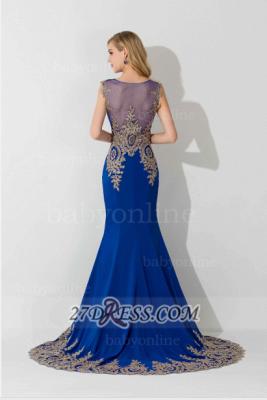 Elegant Illusion Cap Sleeve Mermaid Prom Dress UK Royal Blue Floor-length Appliques Evening Gown_6