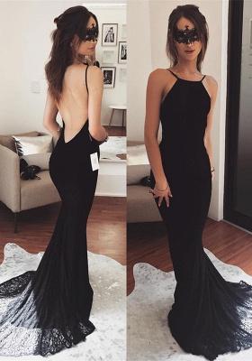 Elegant Black Prom Dress UK   Mermaid Lace Party Gowns_1