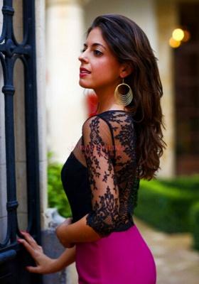 Sheath Long Black Lace Prom Dress UK with Elegant Half Sleeves_4