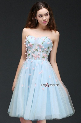 Embroidery Flowers Luxury Sweetheart Lace-Up Tulle Short Homecoming Dress UK_5