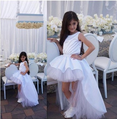 Lovely White Hi-Lo Tulle Flower Girl Dress Sweep Train Jewel_4