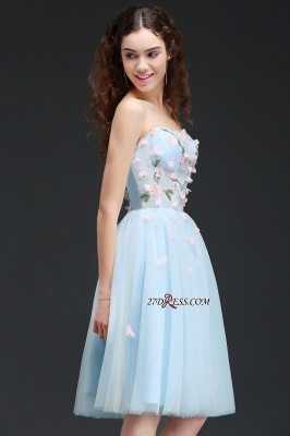 Embroidery Flowers Luxury Sweetheart Lace-Up Tulle Short Homecoming Dress UK_3
