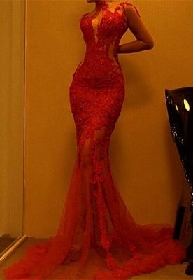 Luxury Red Mermaid Evening Dress UK | Lace Prom Dress UK On Sale_1