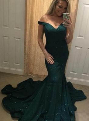 Off-the-shoulder green mermaid prom Dress UK, evening Dress UKes UK BA8825_1