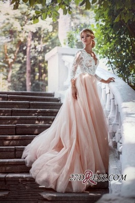 Lace Tulle V-Neck Pink Pretty Long-Sleeve Zipper Wedding Dress_2