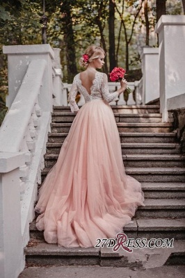 Lace Tulle V-Neck Pink Pretty Long-Sleeve Zipper Wedding Dress_1