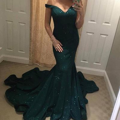 Off-the-shoulder green mermaid prom Dress UK, evening Dress UKes UK BA8825_4