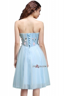 Embroidery Flowers Luxury Sweetheart Lace-Up Tulle Short Homecoming Dress UK_2