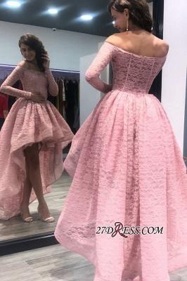 Zipper Bateau Long-Sleeves Hi-Lo Prom Dress UK_2