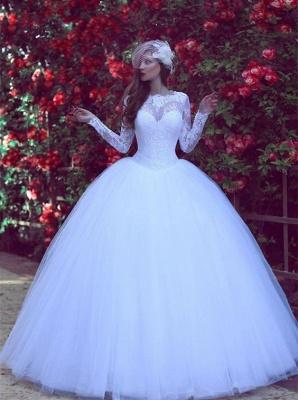 Modest Lace Appliques White Wedding Dress Long Sleeve Floor-length_1