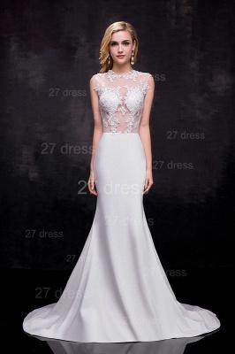 Lace Appliques Sexy Mermaid Wedding Dress Sweep Train_1