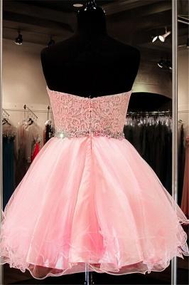 Modest Pink Flowers Crystals Homecoming Dress UK Mini Sweetheart Zipper_2