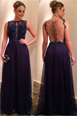 Sexy Beadings Lace Appliques Evening Dress UK A-line Floor-length_1