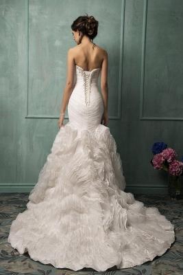 Sleeveless Sexy Mermaid Tulle Wedding Dress With Ruffles Beadss_2