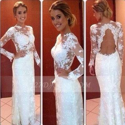Gorgeous Lace Long Sleeve Wedding Dresses UK Floor Length Simple Bridal Gowns_2