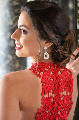 Elegant Red Lace Sleeveless Homecoming Dress UK Short Layers Cocktail Gowns_3