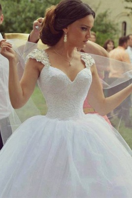 Delicate Sweetheart Sleeveless Tulle Wedding Dress Ball Gown_1