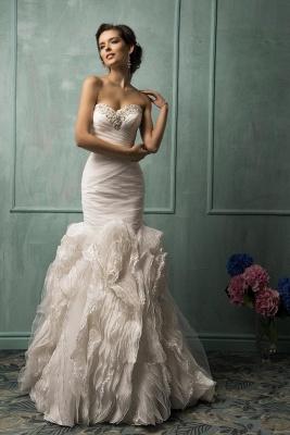 Sleeveless Sexy Mermaid Tulle Wedding Dress With Ruffles Beadss_1