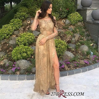 Gold Side-Slit High-Neck Long-Sleeves Elegant Appliques Tulle Prom Dress UKes UK BA8499_1