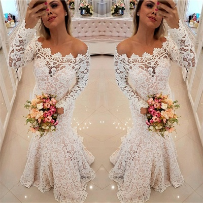 Off The Shoulder Lace Sexy Mermaid Wedding Dresses UK Long Sleeve Cheap Bride Dress_3