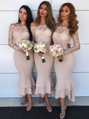 Hot Sale Long Sleeve Bridesmaid Dress UK | Lace Maid of Honor Dress UK_1