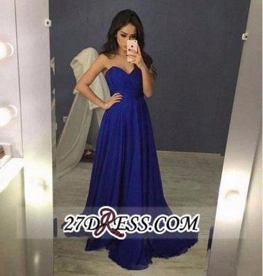Chiffon Blue Sweetheart Long A-Line Prom Dress UKes UK_1