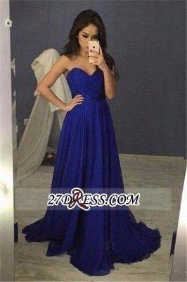 Chiffon Blue Sweetheart Long A-Line Prom Dress UKes UK_2