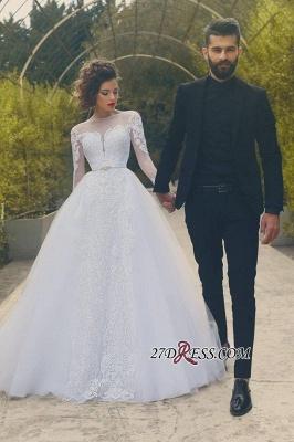 Crystal Tulle White Elegant Long-Sleves Appliques Wedding Dress_2