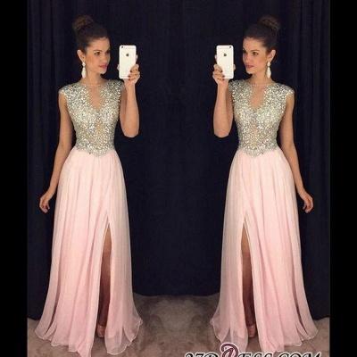 A-line luxury Crystals Long Beaded Pink Front-Slit Prom Dress UKes UK AP0 BA4627_1