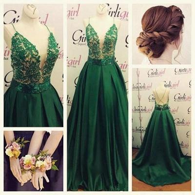 Luxury Green Spaghetti Straps Evening Dress UK Long Lace Appliques_3