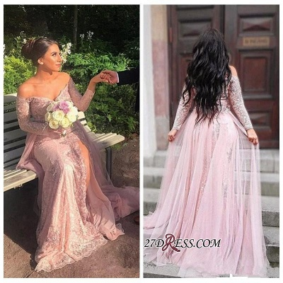 Long-Sleeve Mermaid Lace Prom Dress UK   Off-the-shoulder Evening Gowns With Split_2