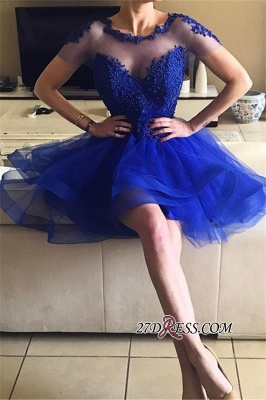 Short-Sleeves Royal-Blue Appliques A-line Beadings Homecoming Dress UKes UK BA7609_3
