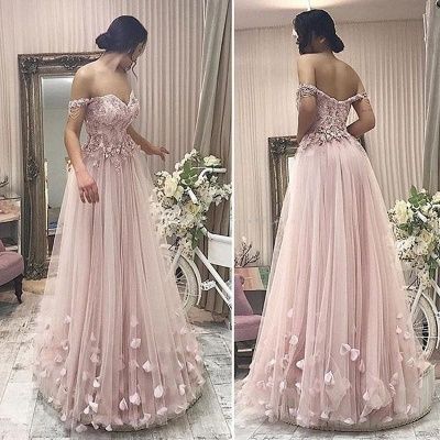 Simple Off-the-shoulder Lace Pink Prom Dress UK   Sexy Prom Dress UK_3