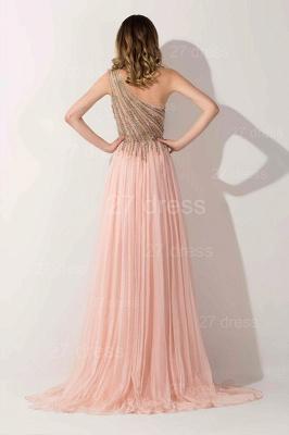 Lovely Pink One Shoulder Prom Dress UK Long Chiffon Lace_2