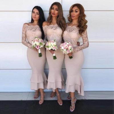 Hot Sale Long Sleeve Bridesmaid Dress UK | Lace Maid of Honor Dress UK_3