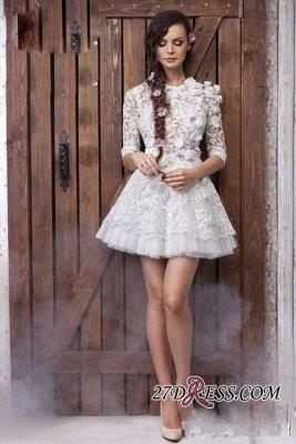 Sheer 3D-Floral Half-Sleeves Short Appliques  Wedding Dresses UK_1