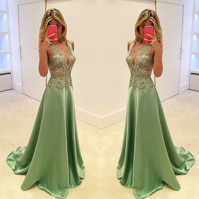 Luxury Sleeveless Appliques Evening Dress UK Long Floor Length BA3158_3