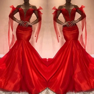 Red Off-the-Shoulder Evening Dress UK | Mermaid Prom Party Gowns_3