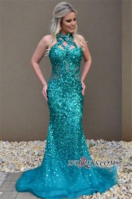 Mermaid Open-Back Open-Back Sleeveless Elegant Crystal Prom Dress UK_2