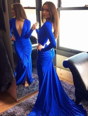 Elegant Royal Blue Deep V-Neck Prom Dress UK Mermaid Long Sleeve HT116_1