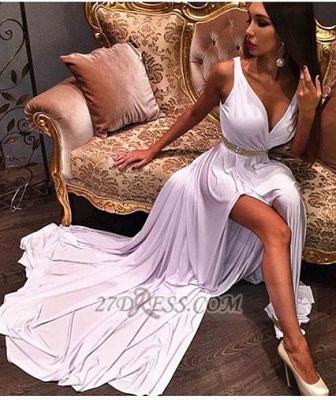 Elegant Deep V-neck Sleeveless Long Prom Dress UK With Front Split And Beadings_1