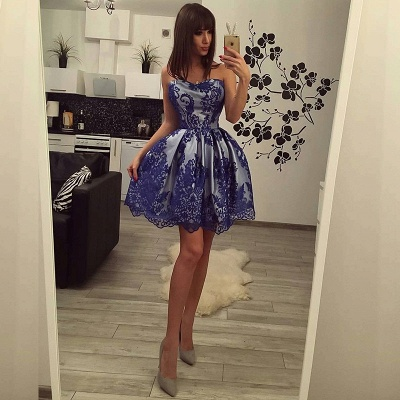 Charming Strapless Lace Homecoming Dress UK Short Party Gowns On Sale_3