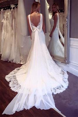 Elegant Lace Sexy Mermaid Sleeveless Wedding Dresses UK Open Back Crystall Bridal Gowns_3
