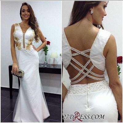 White Sheath Elegant Floor-length V-neck Prom Dress UK_1